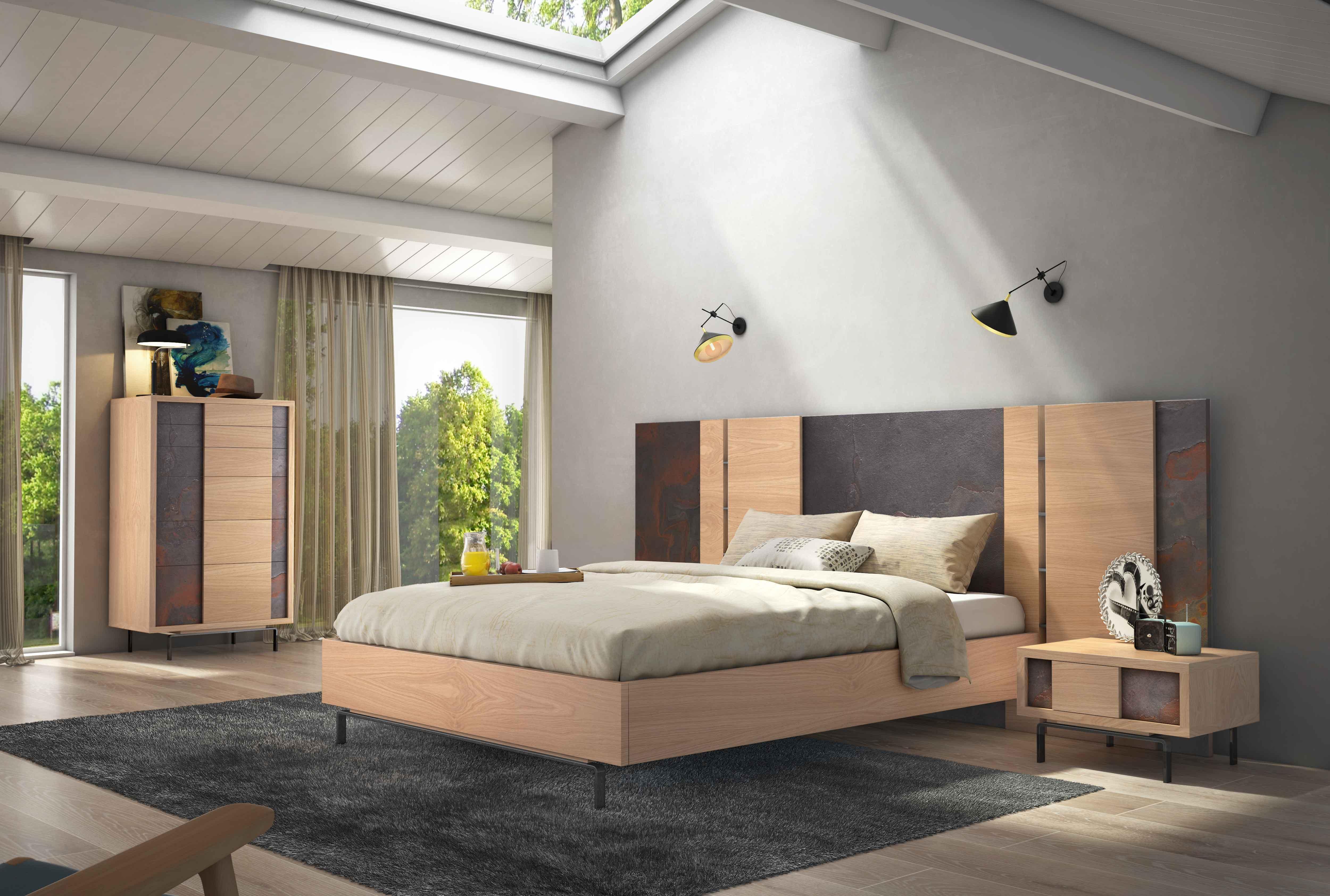 Dormitorio industrial de madera hierro y piedra