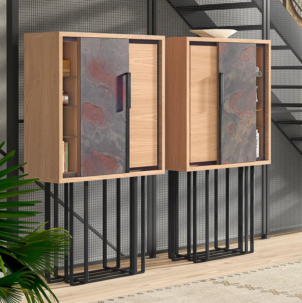 Mueble industrial de madera hierro y piedra